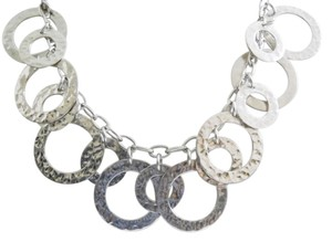 Silver Style Silver Style Hammered Design 17 Inch Sterling Silver Circle Toggle Necklace QVC