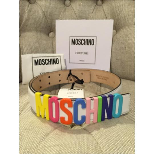Moschino Multicolored Logo Lettering Leather Belt