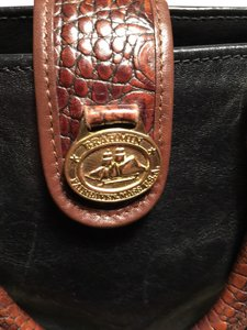 Brahmin Satchel in Black And brown With Tan Inside