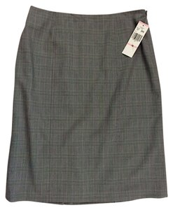Jones New York Straight Glen Plaid Double Back Vent Skirt Black Plaid