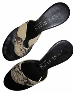 Anne Klein Snakeskin Wedge tan & brown Sandals