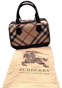 Burberry Satchel in Nova Check Print with Black Patent trim