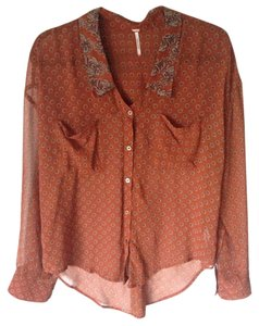 Free People Button Down Shirt Burnt orange