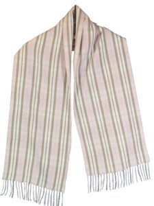 Other Scarf 100% Cashmere Plaid Pink White Brown Blue 64x12