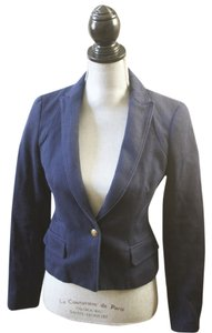 Banana Republic Cotton Navy Fitted Tailored Blue Blazer