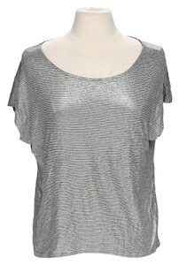 Ella Moss Striped Viscose Top Silver