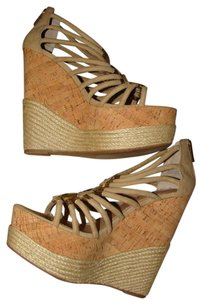 Halston Cork Heel Super High Metallic Metallic Hardware Beige Platforms