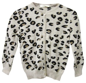 Valentino Cashmere Wool Leopard Print Button Down Sweater