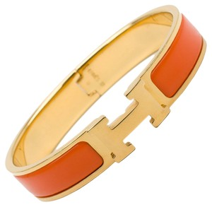 Hermès Hermes Clic Clac H Orange Enamel Gold-Plated Bracelet PM