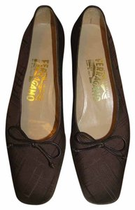 Salvatore Ferragamo Vintage Signature Brown Flats