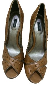Tufi Duek Peep Studded Gold Studded Brazilian Designer brown Pumps