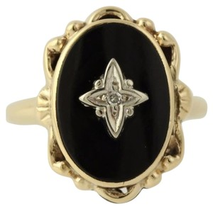 Onyx Diamond Cocktail Ring - 10k Yellow Gold Band Womens Fine Estate