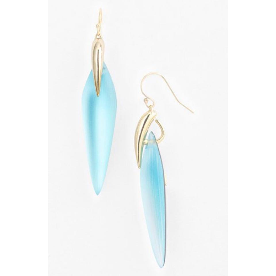 Alexis Bittar Blue Light Lucite And Gold Drop New With Tags Earrings Tradesy
