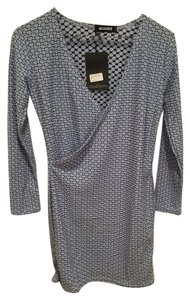 Missguided short dress blue Wrap Over Bodycon Textured on Tradesy