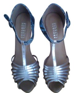Barneys New York Faux Blue Snake Skin & Silver Sandals