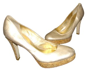 Jessica Simpson Cork Screw Platform Heel Iridescent Light Gold Pumps