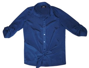 by&by Polyester 3/4 Sleeves Top Navy Blue