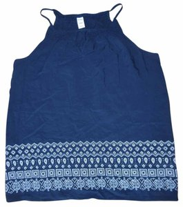 Old Navy Boho Top Navy Blue, White