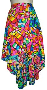 L Amour Nanette Lepore High Low Polyester Skirt Multicolored