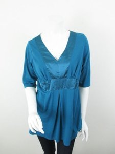 TravelSmith Satin Combo 34 Length Shirt Top Blue