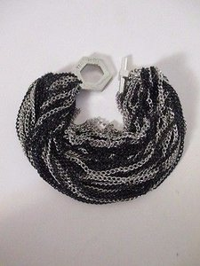 Ted Rossi Ted Rossi Silver Black Multi Chain Toggle Bracelet