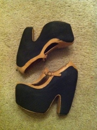 Jeffrey Campbell Black and tan Wedges