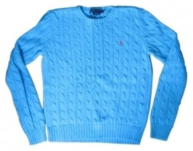 Preload https://item1.tradesy.com/images/ralph-lauren-light-blue-cable-knit-crewneck-sweaterpullover-size-8-m-6450-0-0.jpg?width=400&height=650