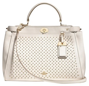 Coach Leather Studded White Longer Strap 35285 Satchel in Light Gold/Chalk