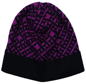 Versace Versace Purple/Black Knitted Beanie Wool Blend Hat