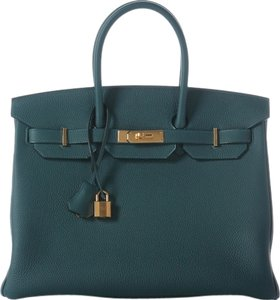 Hermès Gold Hardware Hr.j0604.01 2016 Green Satchel in Blue