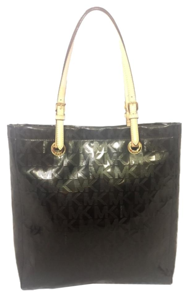 Michael Kors Jet Set Metallic Mirror Black Patent Leather Tote 70% off retail