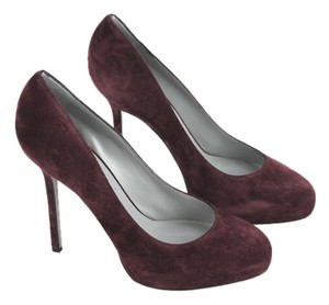 Sergio Rossi Suede Leather Pump Blood Red Pumps