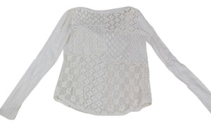 Free People Crochet Longsleeve Top Cream