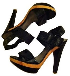 Bebe Platform High Heels Black Black patent Sandals