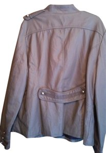 Steve Madden Grey, silver buttons, purple interior Leather Jacket