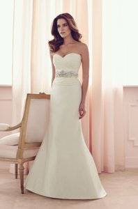 Paloma Blanca Ivory Silk Dupioni 4505 Formal Wedding Dress Size 12 (L)