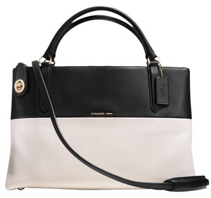 Coach Borough Collection Style#36030 Black/white Crossgrain Leather Satchel in Black/chalk