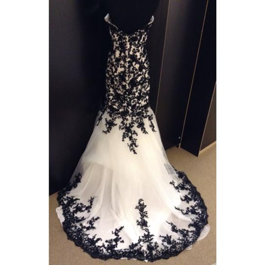Allure Bridals Diamond White/ Black Lace Formal Wedding Dress Size 12 (L) Image 1
