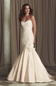 Paloma Blanca Blush/Natural Lace/ Silk Dupioni 4450 Feminine Wedding Dress Size 12 (L)
