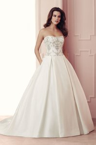 Paloma Blanca Natural Silk Dupioni 4511 Formal Wedding Dress Size 12 (L)