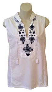 J.Crew Boho Embroidered Tassle Top White