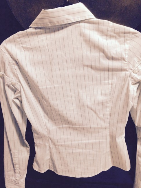 Laundry by Shelli Segal Button Down Shirt white with pin stripes Image 3