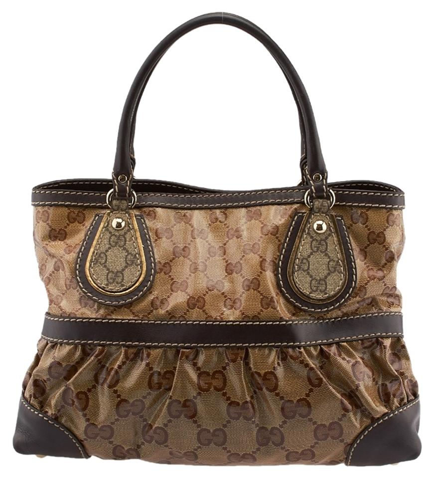 b021fceb6bb Gucci Gg Crystal Mix (55612) Beige   Brown Waxed Canvas Leather Tote ...