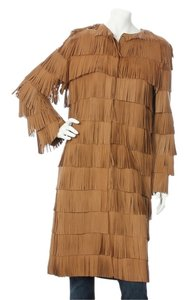 Prada Fringe Tan Jacket Coat