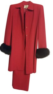 Givoldi Couture New York Givoldi Couture New York Red Pantsuit with Fur Trim on Sleeves