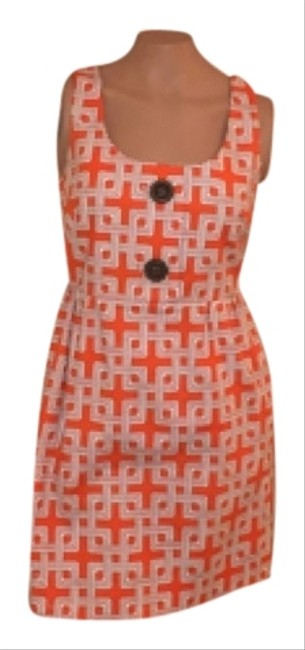 Preload https://item5.tradesy.com/images/milly-orange-black-white-knee-length-workoffice-dress-size-4-s-6474559-0-0.jpg?width=400&height=650