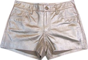 Ralph Lauren Lambskin Leather Metallic Shorts silver