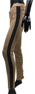 Jeans Stretch Stripe Black Skinny Pants black, tan