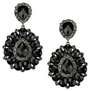 Glam Black Rhinestone Crystal Hematite Flower Leaf Design Chandelier Drop Dangle Clipon Earrings