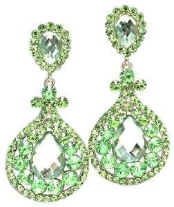 Other Glam Green Rhinestone Crystal Teardrop Accent Chandelier Drop Dangle Clipon Earrings
